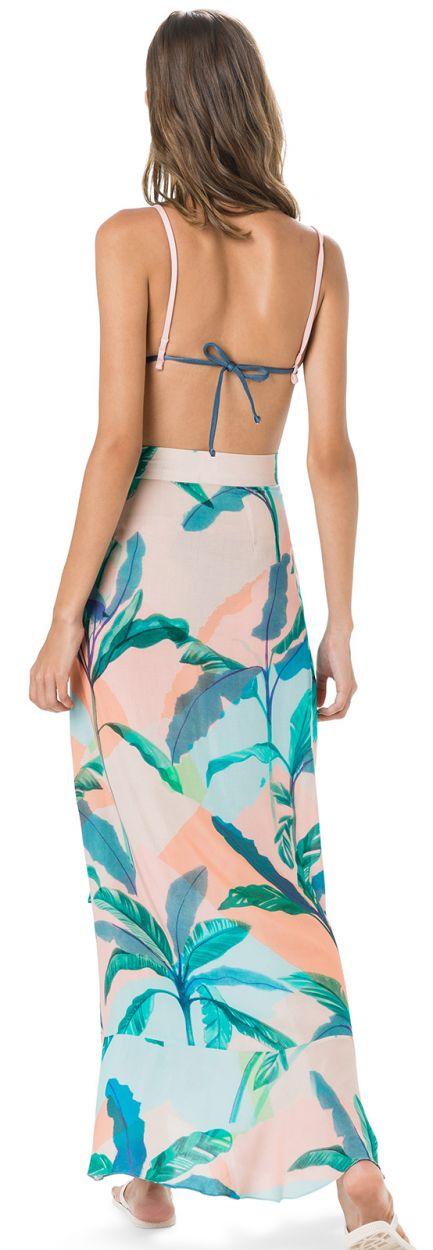Lång strandkjol i tropiskt pastelltryck - SAIA ESTAMPA