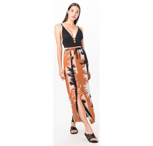 Beach skirt with a split and tropical print - SAIA MAMBO