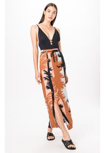 Beach skirt with a split and tropical print - SAIA MAMBO