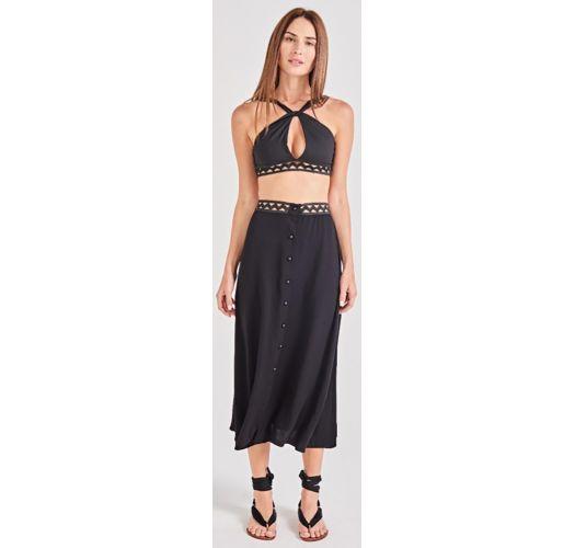 שמלת חוף שחורה עם כפתורים ורצועת מותניים העשויה בדוגמת חורים - NOITE PRETO