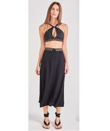 Buttoned black beach dress with openwork waist band - NOITE PRETO