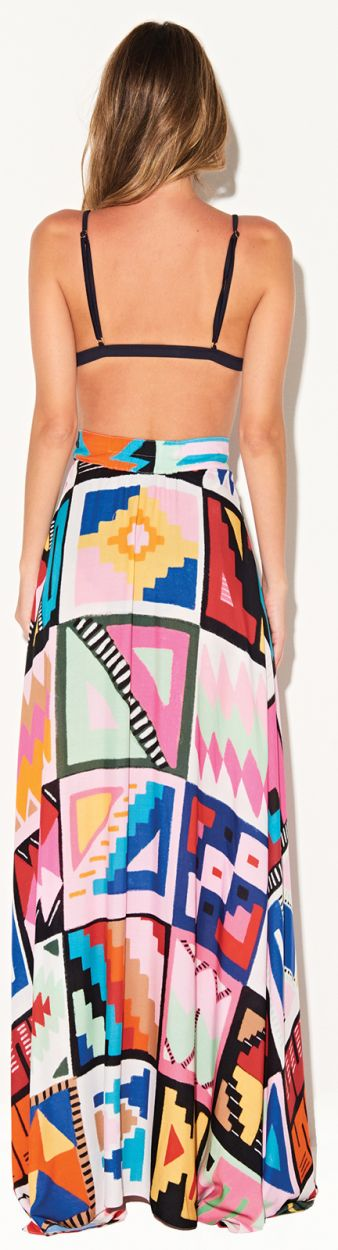 Long multicolored ethnic luxury beach skirt - SAIA CUSCO