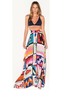 Long multicolored ethnic luxury beach skirt - SAIA CUSCO