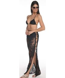 Black long lace beach skirt with openwork - SAIA ROLOTES
