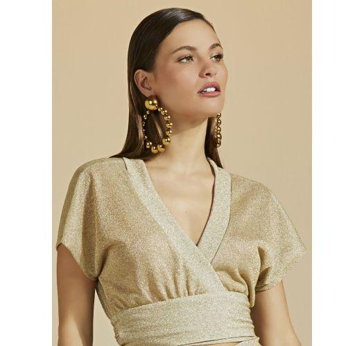 Luxurious gold beach crop top with lurex - TOP LUZ-MESCLA CLARO