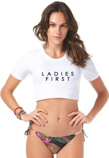 T-shirt crop top blanc avec inscription - T-SHIRT CROPPED LADIES