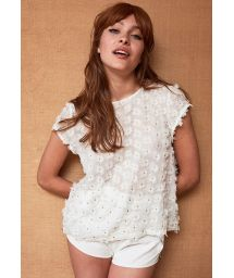 White T-shirt with 3D flowers and golden threads - TOP TOOTSY WHITE