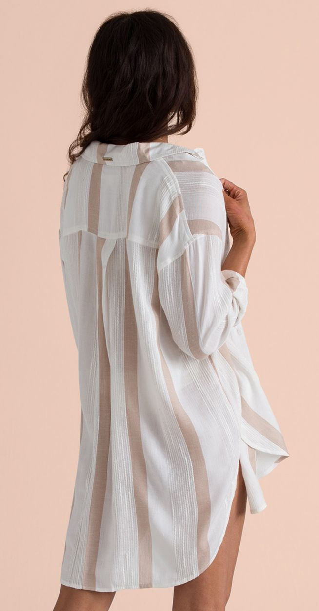 White & beige straps beach shirt - SAILING SUNDAYS COOL WIP