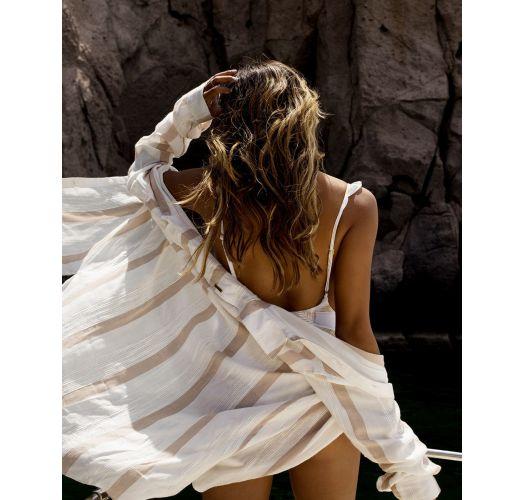 Weiß/beigegestreiftes Strandshirt - SAILING SUNDAYS COOL WIP