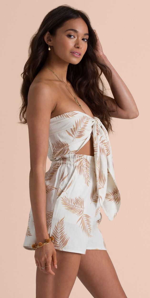 Front-tied beach top in feathers - SINCERELY YOURS COOL WIP