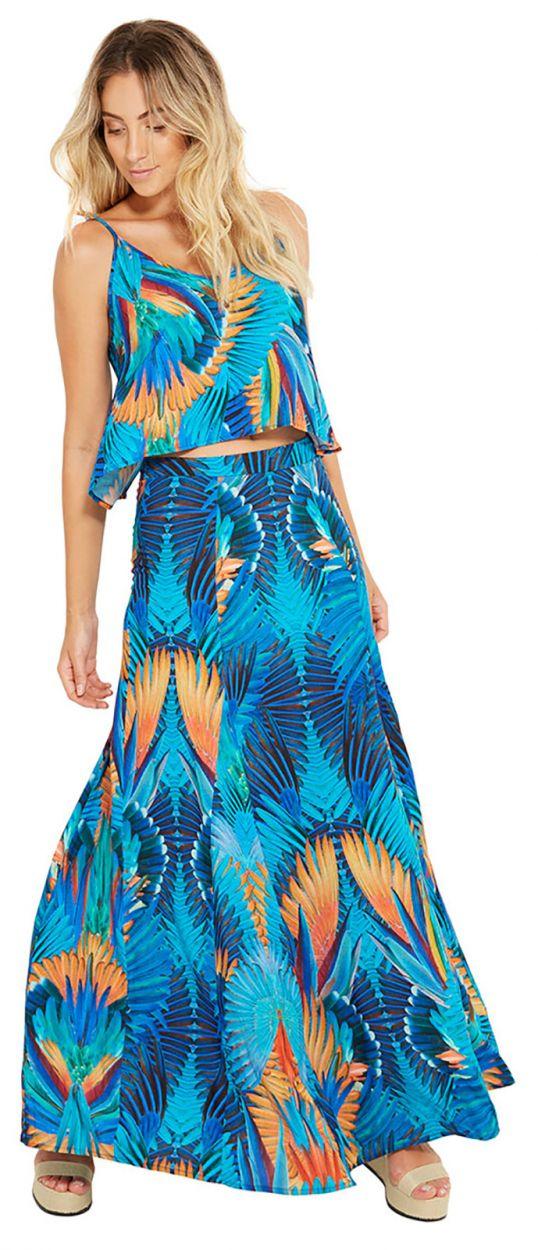 Blå strandtopp med tryck - ALCINHA ARARUNA