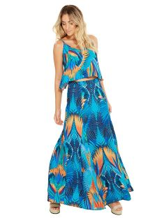 Blue beach top with a print - ALCINHA ARARUNA