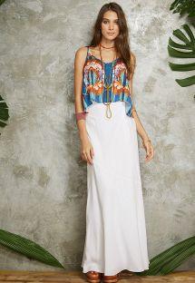 Askılı ve dökümlü rengarenk plaj üst elbisesi - BLUSA ALCINHA POTI