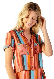 Tropical stripes shirt beach top - BRUNA PALMAR