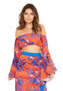 Топ темно-оранжевого цвета в цветочный принт с длинными рукавами - CROPPED SARAH NOTURNELLA