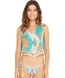 Beach top with geometric print and pompons - MAGDA BARLAVENTO