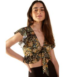 Ruffled crop top with black & ocher print - MONICA KASUTI