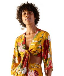 Yellow beach crop top in floral pattern - TOP CROPPED XANGAI