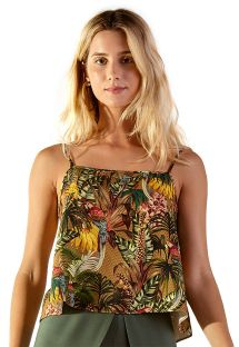 Tropical print short tank top - TOP LULE GAYA VERDE