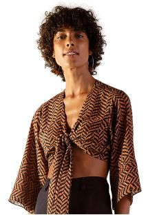 Brown crop top in ethnic print - TOP SAVANA GUINE