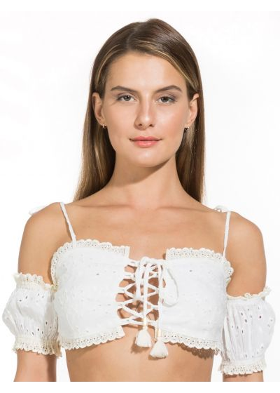 Laced white off the shoulder top with emroidery - CIGANA TOP OFF WHITE