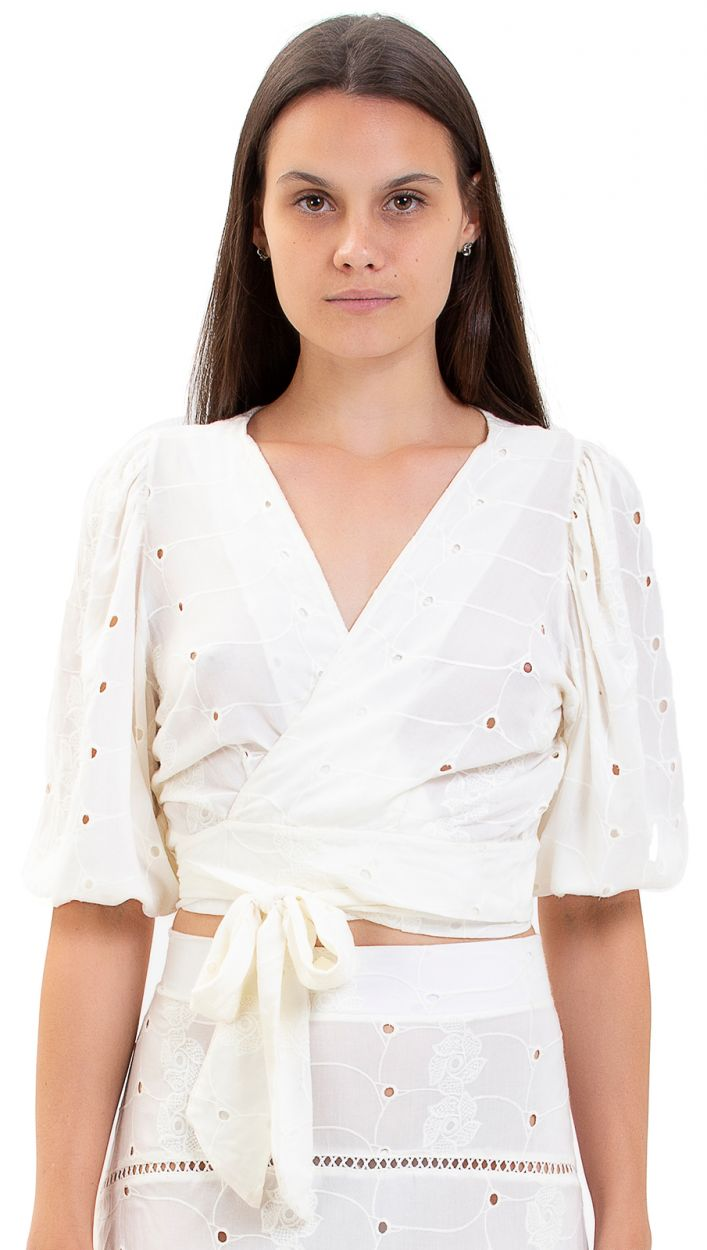 White wrap crop top with embroidery - TOP MARIANA WHITE OFF