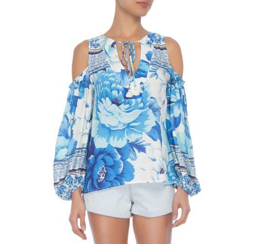 Blå bohemisk blomstret bluse nakne skuldre - BATA CHITA AZULEJO