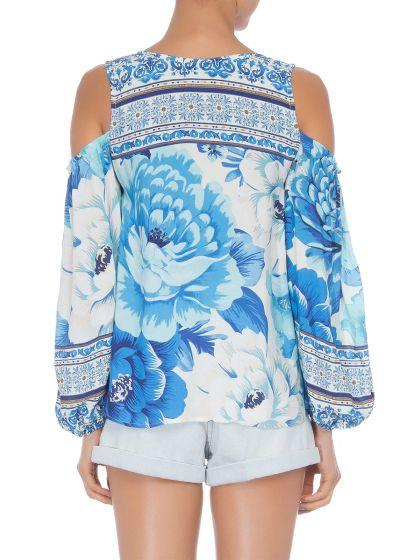 Blue bohemian floral blouse bare shoulders - BATA CHITA AZULEJO