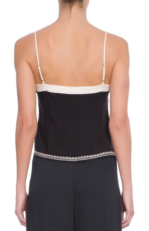 Black tank top with white embroidery - BLUSA ALCINHA BORDADA