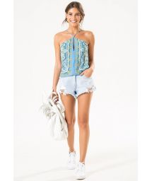 Sky blue printed top with cross-over straps - BLUSA ANGRA SCARF