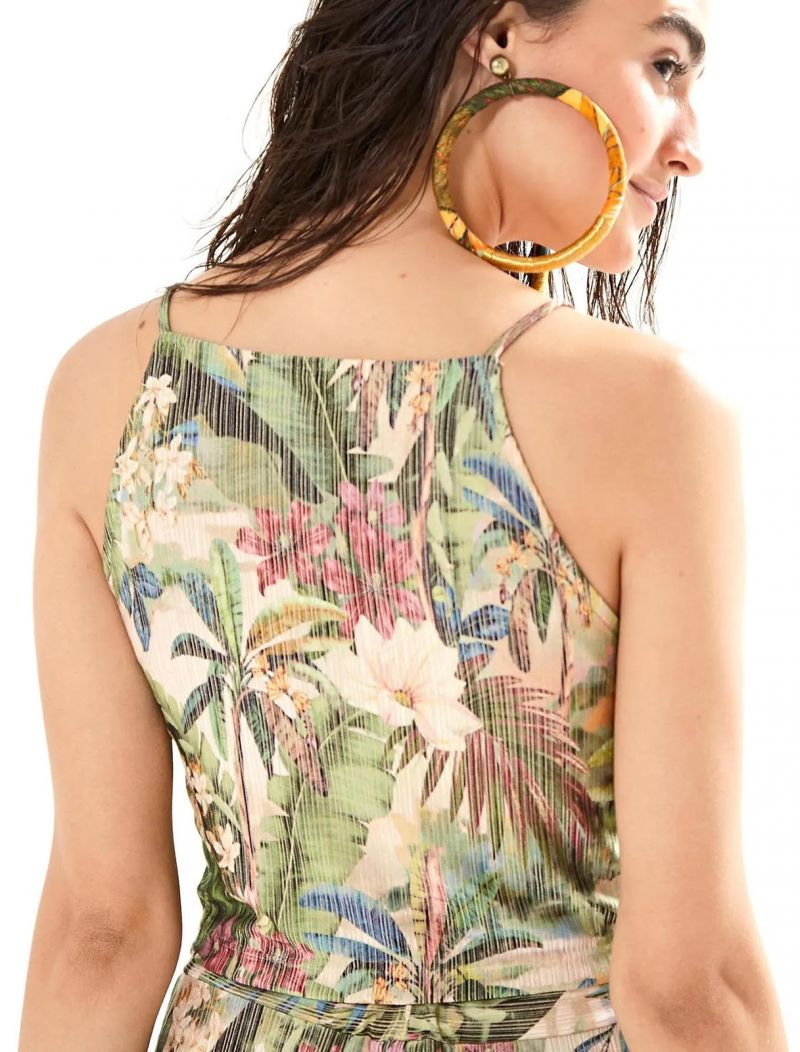 Tropical printed knotted crop top - BLUSA CROPPED RECANTO