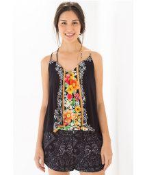 Black beach top, floral motif - BLUSA LENÇO CRUZADO