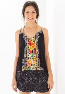 Blusa de praia preta c/ padrão floral - BLUSA LENÇO CRUZADO