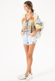Kimono-sleeved top with patchwork print - BLUSA MARIA FLOWER