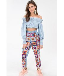 Blue denim long sleeve crop top - BLUSA OMBRO