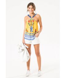 Printed top with frilled cross-over straps - BLUSA RUFFLE STRAPP TOP