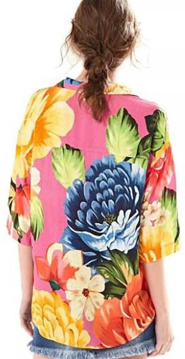 Multicolored beach shirt in big flowers print - CAMISA CROPPED CHITA ROMANTICA