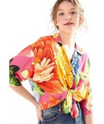 Multicolored beach shirt in big flowers print - CAMISA CROPPED CHITA ROMANTICA