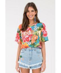 Färggrann t-shirt med stora blommor - MAXI FLOWER