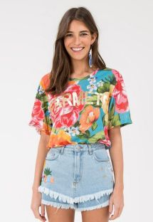 T-shirt colorida c/ flores grandes - MAXI FLOWER
