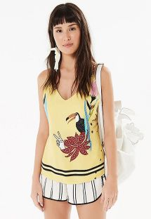 Yellow tropical top crossed back - PASSARINHO AMARELO