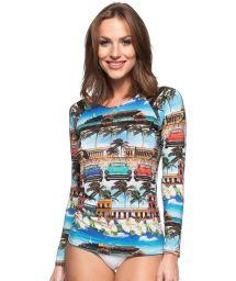 Long sleeve one-piece swimsuit with Cuba print - MANGA LONGA HABANA