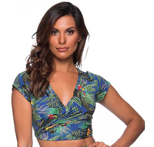 TOP CROPPED CRUZADO ARARA AZUL