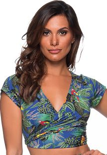 Colorful tropical wraps style crop top - TOP CROPPED CRUZADO ARARA AZUL