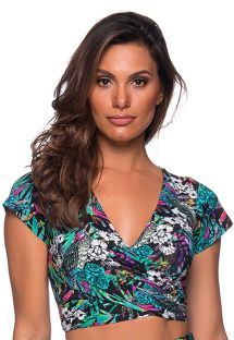Crop top de playa estampado floral - TOP CROPPED CRUZADO ATALAIA