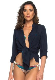 Light, long-sleeved navy blue shirt - CHEMISE OCEANO