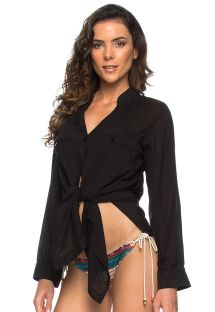 Black tied beach shirt - long sleeve - CHEMISE ROMA