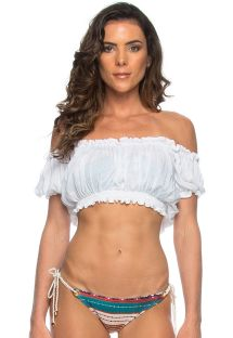Top de playa estilo crop-top blanco con escote Bardot - CROPPED CIGANINHA BRANCO