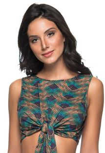 Beach crop top with green/copper print - TOP AMARRAÇÃO METALLIC