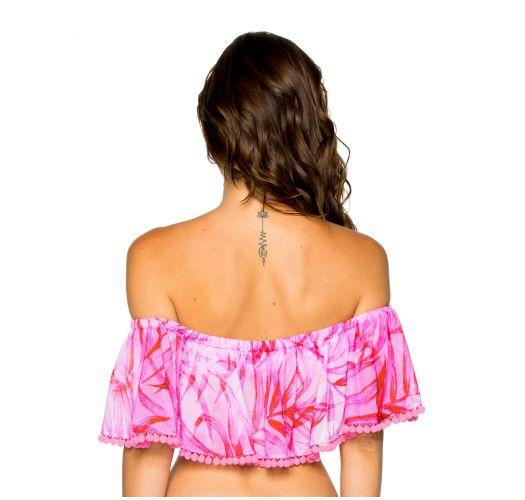 Rosa strand topp med bare skuldre og blad mønster - RUFFLE BAMBOLEO